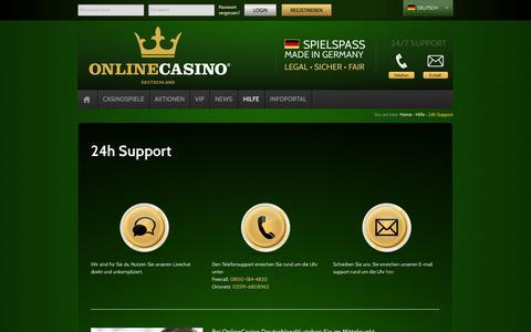 Screenshot of Support Page onlinecasino.de - 24h Support | OnlineCasino - Deutschland - captured Oct. 30, 2014