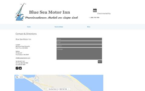 Screenshot of Contact Page Maps & Directions Page blueseamotorinn.com - Blue Sea Motor Inn| Cape Cod| Chamber of Commerce| Hotel - captured April 26, 2017