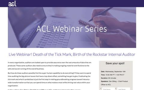 Screenshot of Landing Page acl.com - Death of the Tick Mark, Birth of the Rockstar Internal Auditor - captured Sept. 19, 2018