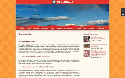 Screenshot of Testimonials Page taramandala.org - Testimonials - captured May 20, 2016
