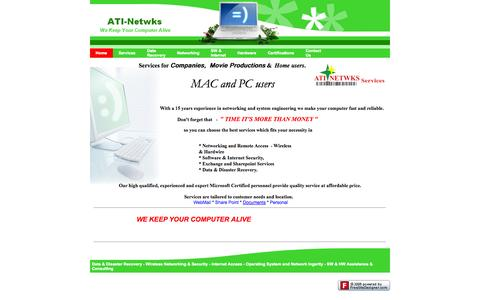 Screenshot of Home Page ati-netwks.ca - ati-netwks.ca - Home - captured Oct. 4, 2014