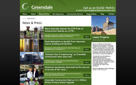 Screenshot of Press Page greendaleconstruction.com - Greendale Construction  - News & Press - captured Oct. 3, 2014