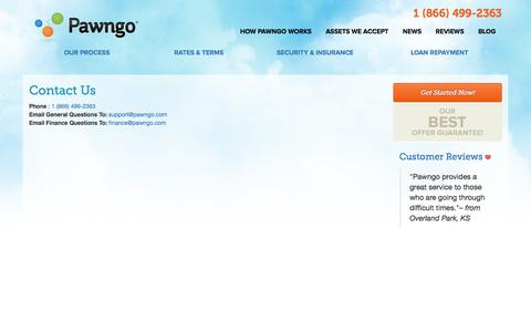 Screenshot of Contact Page pawngo.com - Contact Pawngo, the Online Pawn Shop  | Pawngo - captured Aug. 14, 2016
