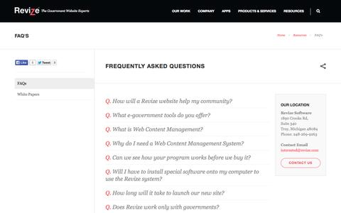 Screenshot of FAQ Page revize.com - Faqs, Content Management System, CMS, Web site,  Software Product, Price, Custom Consulting - captured Nov. 5, 2014