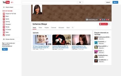 Screenshot of YouTube Page youtube.com - Uchenna Okoye  - YouTube - captured Oct. 22, 2014