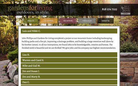 Screenshot of Testimonials Page gardensforliving.com - Gardens for Living Testimonials - captured Dec. 7, 2015
