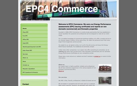 Screenshot of Home Page epc4commerce.co.uk - EPCs for commercial properties. - EPC4 COMMERCE, commercial EPCs Commercial energy performance certificates EPCs for shops, offices, hotels, warehouses, Industrial units - captured Sept. 26, 2014