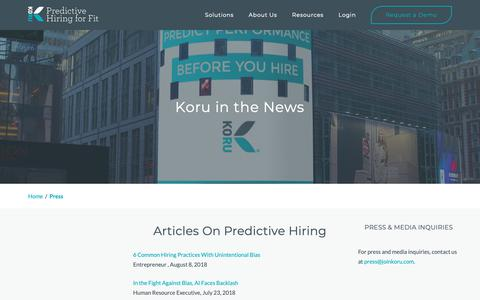 Screenshot of Press Page joinkoru.com - Koru Press - captured Oct. 16, 2018