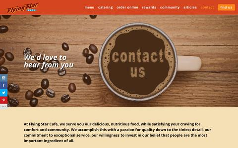 Screenshot of Contact Page flyingstarcafe.com - Contact - Flying Star Cafe - captured Aug. 18, 2018