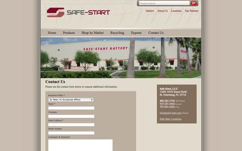 Screenshot of Contact Page safe-start.com - Contact Us   Safe Start - captured Sept. 30, 2014