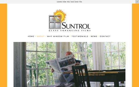 Screenshot of About Page suntrol.com - Suntrol Window Film  — About Suntrol Window Film - captured Dec. 11, 2016