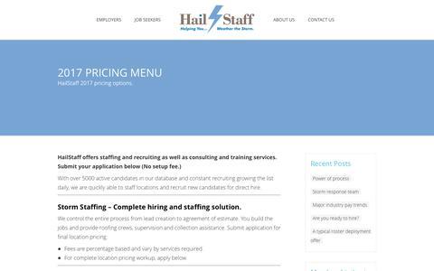 Screenshot of Pricing Page hailstaff.com - 2017 Pricing Menu   HailStaff - captured May 13, 2017