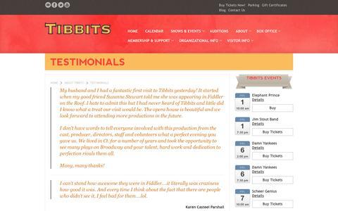 Screenshot of Testimonials Page tibbits.org - Testimonials about Tibbits Opera House - captured July 1, 2017