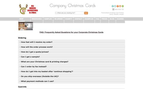 Screenshot of FAQ Page companychristmascards.co.uk - FAQ - Frequently Asked Questions and Help Guide - captured Feb. 10, 2016