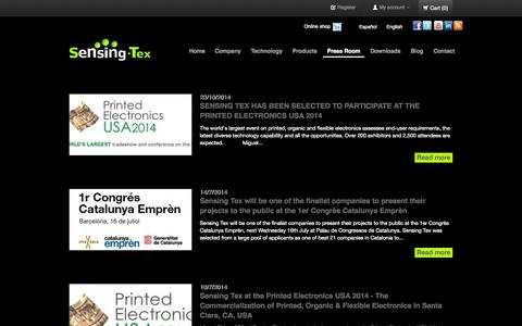 Screenshot of Press Page sensingtex.com - Press Room - captured Oct. 29, 2014