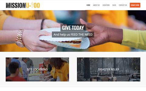 Screenshot of Home Page missionutoo.org - Mission U-Too | Feeding People Physically and Spiritually - captured Jan. 13, 2016