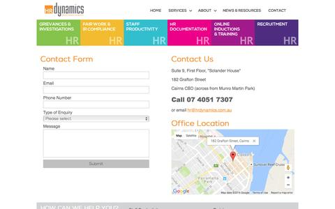 Screenshot of Contact Page hrdynamics.com.au - Human Resource Dynamics - Effective Employee Management - CONTACT - captured Nov. 15, 2016