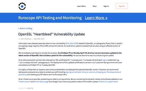 """Screenshot of Blog runscope.com - OpenSSL """"Heartbleed"""" Vulnerability Update — Runscope Blog - captured Nov. 6, 2016"""