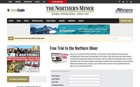 Screenshot of Trial Page northernminer.com - Free Trial to the Northern Miner - The Northern Miner - captured Nov. 16, 2018