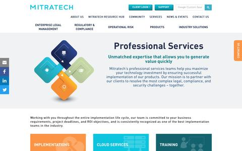 Screenshot of Services Page mitratech.com - Services | Compliance, Training, Implementations & Hosting for Legal Depts - captured April 8, 2017