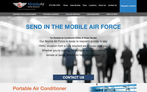 Screenshot of Home Page mobileair.com - Portable Air Conditioner, Chiller & Heater Rental | Mobile Air - captured Sept. 24, 2018