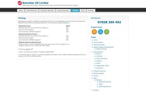 Screenshot of Pricing Page brandstar.co.uk - Brandstar UK Limited   » Pricing - captured Oct. 5, 2014