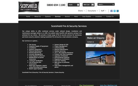 Screenshot of Services Page scotshield.com - Scotshield Fire & Security Services | Scotshield Fire & Security - captured Feb. 4, 2016