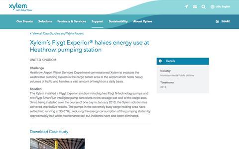 Screenshot of Case Studies Page xylem.com - Case Study: Xylem´s Flygt Experior® halves energy use at Heathrow pumping station   Xylem US - captured Nov. 9, 2019