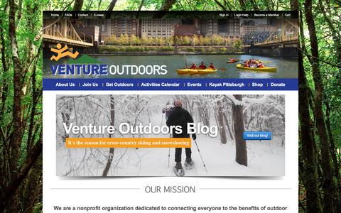 Screenshot of Home Page ventureoutdoors.org - Home - Venture Outdoors - captured Feb. 23, 2016