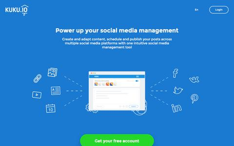 Screenshot of Home Page kuku.io - KUKU.io - Social media management - captured Dec. 10, 2015