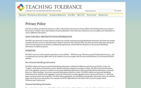 Screenshot of Privacy Page tolerance.org - Privacy Policy | Teaching Tolerance - captured Oct. 26, 2014