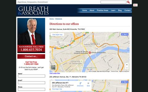 Screenshot of Maps & Directions Page sidgilreath.com - TN Medical Malpractice Lawyers and Injury Attorneys - Gilreath & Associates - captured Jan. 28, 2016