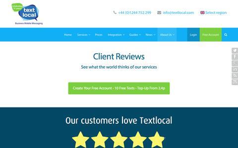 Screenshot of Testimonials Page textlocal.com - Textlocal Client Reviews - Mobile Messaging Service Feedback - captured April 6, 2016