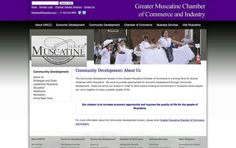 Screenshot of About Page muscatine.com - Community Development: About Us Muscatine Chamber of Commerce - captured Feb. 2, 2016