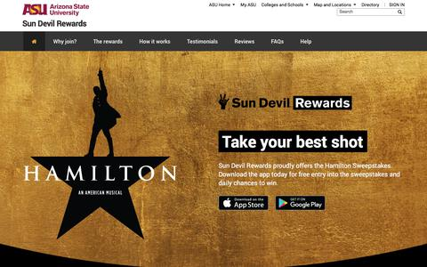 Screenshot of asu.edu - Sun Devil Rewards | Official loyalty program app of Arizona State University - captured Dec. 23, 2017