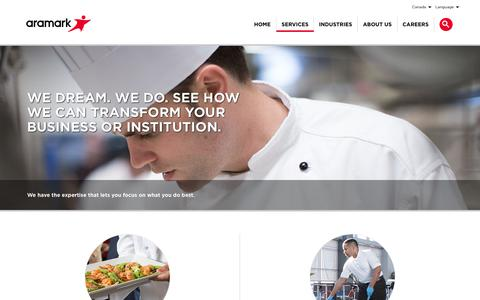 Screenshot of Services Page aramark.ca - Services | Aramark - captured Oct. 26, 2018