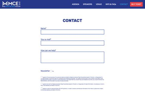Screenshot of Contact Page mceconf.com - Contact – MCE 2018 - captured Oct. 19, 2018
