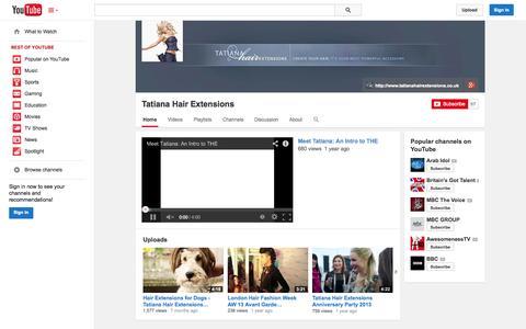Screenshot of YouTube Page youtube.com - Tatiana Hair Extensions  - YouTube - captured Nov. 5, 2014
