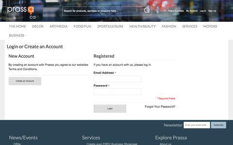 Screenshot of Login Page prassa.ca - Customer Login - Prassa - captured Nov. 10, 2016