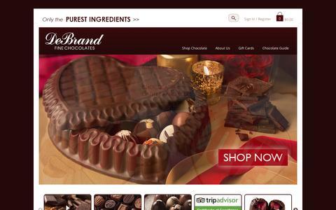 Screenshot of Home Page debrand.com - DeBrand Fine Chocolates - captured Feb. 8, 2016