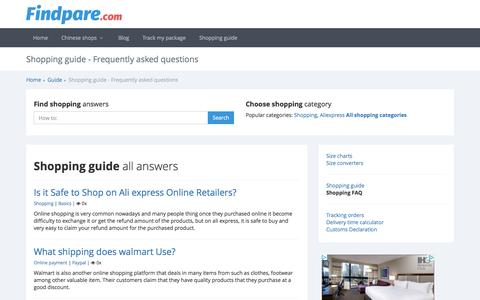 Screenshot of FAQ Page findpare.com - Findpare Shopping Guide: Frequently Asked Questions – Get Answers - captured Nov. 28, 2016