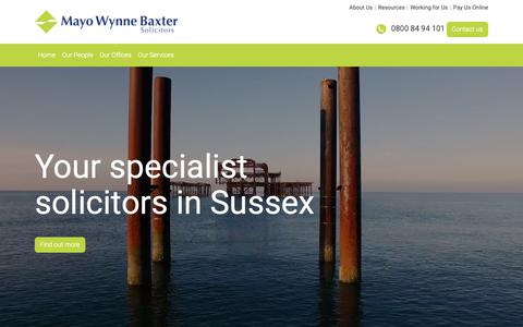 Screenshot of Home Page mayowynnebaxter.co.uk - Mayo Wynne Baxter - Solicitors in Brighton, Eastbourne, Sussex & East Grinstead - captured Nov. 6, 2018