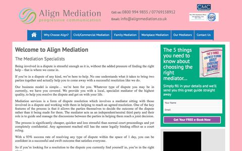 Screenshot of Home Page alignmediation.co.uk - Align Mediation – Progressive Communication - captured Oct. 8, 2017