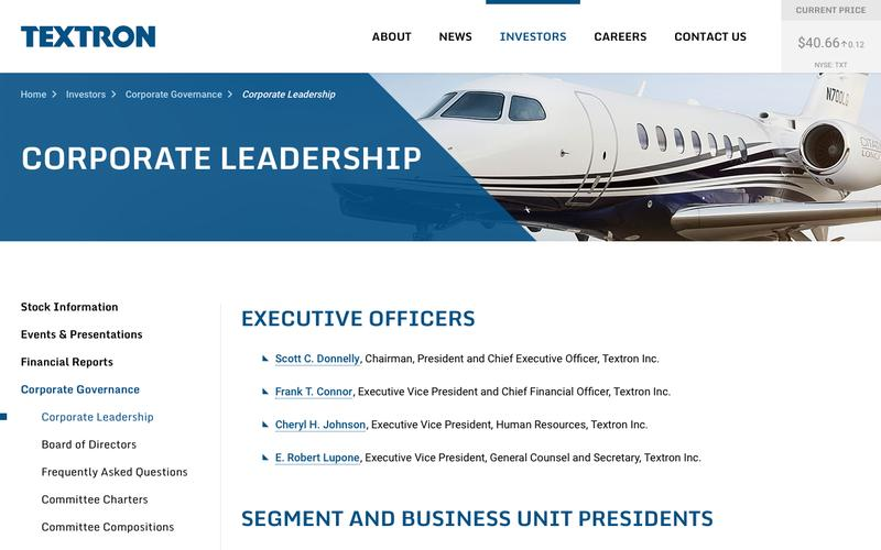 Textron Inc - Investors - Corporate Governance - Corporate Leadership