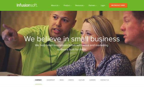 Screenshot of About Page infusionsoft.com - About Our Sales & Marketing Software | Infusionsoft - captured Oct. 10, 2014
