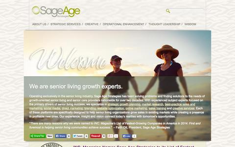 Screenshot of Home Page sageagestrategies.com - Senior Living Marketing and Consulting | Sage Age Strategies - captured Sept. 30, 2014