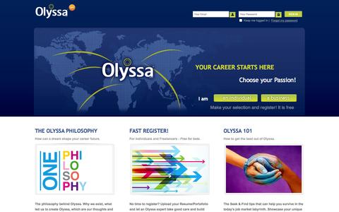 Screenshot of Home Page olyssa.com - Welcome to Olyssa - captured Oct. 9, 2014