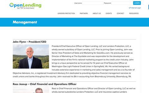 Screenshot of Team Page openlending.com - Management – Open Lending - captured July 11, 2018
