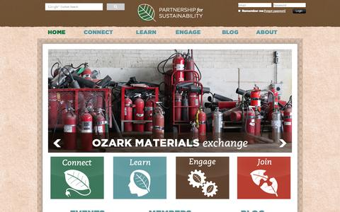 Screenshot of Home Page greenozarks.org - Partnership for Sustainability - Home - captured Oct. 1, 2014