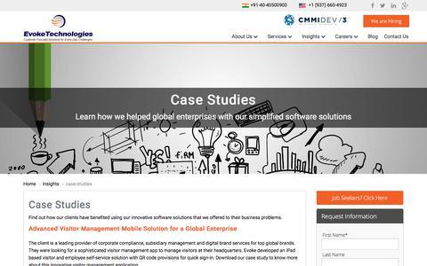Screenshot of Case Studies Page evoketechnologies.com - Case Studies   Evoke Technologies - captured July 22, 2018